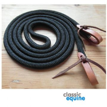 Black Rope Reins with Leather Waterloops - 10 ft